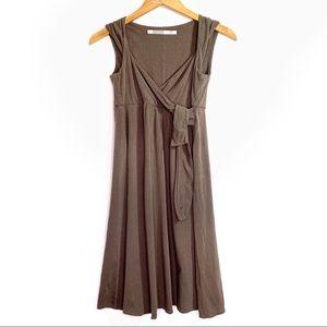 Athleta light brown taupe sash wrap tie tank dress